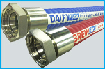 Hygienic Rubber Food Hose Assemblies - BrewFlex and DairyFlex Smooth Bore FDA Approved Dairy, Food and Beverage Hoses